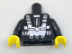 Part No: 973pb2677c01  Name: Torso Space White Harness and Chest Panel with Rivets Pattern (Blacktron I), Inside with Ribs (reissue) / Black Arms / Yellow Hands