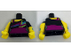 Part No: 973pb2697c01  Name: Torso Bare Shoulder Top with Spiky Colors over Magenta Leotard Pattern / Yellow Arms with Wristbands and Black Left Short Sleeve / Yellow Hands