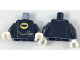 Part No: 973pb2782c01  Name: Torso Coat Chauffeur with 3 Side Buttons, Batman Logo in Yellow Oval, Gold Pocket Watch Pattern / Black Arms / White Hands