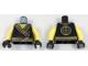 Part No: 973pb2805bc01  Name: Torso Ninjago Robe with Asian Characters, Brown Fabric Creases, Gold Sash and Medallion Pattern / Yellow Arms / Black Hands