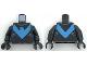 Part No: 973pb3005c01  Name: Torso Batman Nightwing Blue V Logo and Gray Trim Pattern / Black Arms / Black Hands