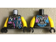 Part No: 973pb3026c01  Name: Torso Biker Vest with Dark Pink / Medium Azure Ninjago Characters, Sons of Garmadon Logo and Ninjago 'SOG' on Back Pattern / Yellow Arms / Black Hands