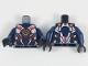 Part No: 973pb3045c01  Name: Torso Female Armor, White and Dark Blue Panels, Gold Samurai X Logo, Gold and Red Trim Pattern / Dark Blue Arms / Black Hands