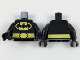 Part No: 973pb3083c01  Name: Torso Batman Logo in Yellow Oval Large, Yellow Belt with Oval Buckle Pattern / Black Arms / Black Hands