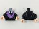 Part No: 973pb3196c01  Name: Torso Robe with Medium Lavender Sash, White Collar with Dark Blue Tie Pattern / Black Arms / Light Flesh Hands