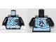 Part No: 973pb3199c01  Name: Torso Ninja Robe with White Belt and Spinjitzu Ice Burst Pattern / Black Arms / White Hands