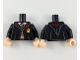 Part No: 973pb3243c01  Name: Torso Hogwarts Robe Clasped over Dark Bluish Gray Sweater, Dark Red and Bright Light Orange Tie and Trim Pattern / Black Arms / Light Nougat Hands