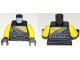 Part No: 973pb3260c01  Name: Torso Ninjago Chain Mail, Ripped Shirt, and Black Sash Pattern / Yellow Arms / Black Hands