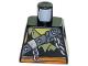 Part No: 973pb3265  Name: Torso Ninjago Broken Chain, Olive Green Stitched Tattered Shirt Fragment, Orange Sash Pattern