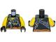 Part No: 973pb3265c01  Name: Torso Ninjago Broken Chain, Olive Green Stitched Tattered Shirt Fragment, Orange Sash Pattern / Yellow Arms / Black Hands