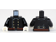 Part No: 973pb3302c01  Name: Torso Fire Uniform 8 Gold Buttons and Brown Belt Pattern / Black Arms / White Hands