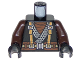 Part No: 973pb3306c01  Name: Torso Ninjago Robe with Suspenders and Wide Belt, Dragon Logo on Back Pattern / Dark Brown Arms / Black Hands