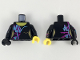 Part No: 973pb3373c01  Name: Torso Female Purple and Medium Azure Markings Pattern / Black Arm Left with Wyldstyle Cuff / Black Arm Right with Purple and Blue Markings / Yellow Hand Left / Black Hand Right