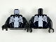 Part No: 973pb3473c01  Name: Torso Spider-Man Dark Bluish Gray Muscles Outline with White Wide Spider Front and Back Pattern (Venom) / Black Arms / Black Hands