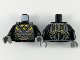 Part No: 973pb3657c01  Name: Torso Space Armor Pearl Dark Gray Plates with Copper Trim and Yellow Triangles (Blacktron I Logo) Pattern / Black Arms / Dark Bluish Gray Hands