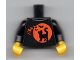 Part No: 973pb3678c01  Name: Torso Black Cat on Orange Moon Background and Bats Pattern (BAM) / Black Arms / Yellow Hands