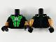 Part No: 973pb3740c01  Name: Torso Bright Green Panels, Green Lantern Logo Pattern / Medium Dark Flesh Arms with Black and Bright Green Short Sleeves Pattern / Black Hands