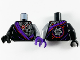 Part No: 973pb3788c01  Name: Torso Robe with Dark Purple Hem and Silver Robot Armor Pattern / Flat Silver Arm Left / Black Arm Right / Dark Purple Hand Left / Black Hand Right