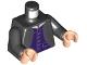 Part No: 973pb4128c01  Name: Torso Harry Potter Jacket with Purple Lines over Dark Purple Vest Pattern / Black Arms / Light Nougat Hands