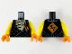 Part No: 973pb4149c01  Name: Torso Tunic over Tan Bandages, Orange Diamond with Black Ninjago Logogram 'VS' on Lapel and Back Pattern / Yellow Arms / Orange Hands