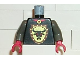 Part No: 973px120c01  Name: Torso Castle Knights Kingdom Bull's Head on Brown Shield Pattern / Dark Gray Arms / Red Hands