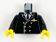 Part No: 973px189c01  Name: Torso Airplane Pilot, Suit Double Breasted, Tie, Gold Buttons and Logo Pin Pattern / Black Arms / Yellow Hands