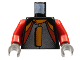 Part No: 973px270c01  Name: Torso Racers Jacket with Orange, Red, Silver Pattern / Red Arms / Dark Gray Hands