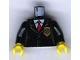 Part No: 973px468c01  Name: Torso Police Jacket with Gold Badge and Red Tie Pattern / Black Arms / Yellow Hands