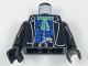 Part No: 973px54c01  Name: Torso Western Bandit Blue Undershirt, Green Bow, Gun in Belt Pattern / Black Arms / Black Hands