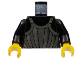 Part No: 973px90c01  Name: Torso Castle Fright Knights Dark Gray, Silver Striped Armor Pattern / Black Arms / Yellow Hands
