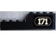 Part No: BA120pb01L  Name: Stickered Assembly 8 x 1 x 2 with White '171' with White Border on Black Background Pattern Model Left Side (Sticker) - Set 171-1 - 1 Brick 1 x 4, 1 Brick 1 x 8