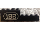 Part No: BA193pb01L  Name: Stickered Assembly 2 x 8 x 2 with White Number 182 with Border on Black Background Pattern Model Left Side (Sticker) - Set 182 - 1 Brick 1 x 2, 1 Brick 1 x 8, 1 Brick 2 x 2