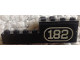 Part No: BA193pb01R  Name: Stickered Assembly 2 x 8 x 2 with White Number 182 with Border on Black Background Pattern Model Right Side (Sticker) - Set 182 - 1 Brick 1 x 2, 1 Brick 1 x 8, 1 Brick 2 x 2