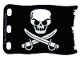 Part No: bb0511pb02  Name: Plastic Flag 8 x 5 with White Skull and Crossed Cutlasses Pattern