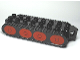 Part No: x1028c01pb01  Name: Duplo Bulldozer Base with Treads and 8 Red Wheels Pattern (Bob the Builder Muck)