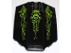 Part No: x224pb011  Name: Windscreen 8 x 6 x 2 Curved with Lime Lines and Atlantis Logo Pattern (Stickers) - Set 8061