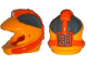 Part No: 17355pb01  Name: Minifigure, Headgear Helmet Space with Pipes and Mouth Grille with Control Panel and Dark Bluish Gray and Orange Markings Pattern