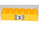 Part No: 2300pb010  Name: Duplo, Brick 2 x 6 with Number 2 and Black and White Checkered Pattern