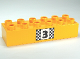 Part No: 2300pb011  Name: Duplo, Brick 2 x 6 with Number 3 and Black and White Checkered Pattern