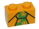 Part No: 3004pb150  Name: Brick 1 x 2 with Black Lines and Bright Green Tie with Skulls Pattern (BrickHeadz The Joker Chest)