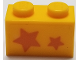 Part No: 3004pb194  Name: Brick 1 x 2 with Orange Stars, Big Star towards Left Side Pattern (Sticker) - Set 40228