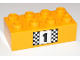 Part No: 3011pb032  Name: Duplo, Brick 2 x 4 with Number 1 and Black and White Checkered Pattern