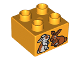 Part No: 3437pb064  Name: Duplo, Brick 2 x 2 with 2 Bunny Rabbits Pattern