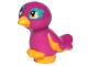 Part No: 35074pb02  Name: Bird, Friends / Elves, Feet Joined with Magenta Body and Bright Light Orange Eyes Pattern (Pepper)