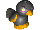 Part No: 35074pb09  Name: Bird, Friends / Elves, Feet Joined with Black Body and Yellow Eyes Pattern