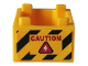 Part No: 35700pb04  Name: Container, Box 2 x 2 x 1 - Top Opening with Red 'CAUTION', White Bolt in Red Triangle And Black and Yellow Danger Stripes Pattern on Both Sides (Stickers) - Set 76162