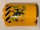 Part No: 6259pb041L  Name: Cylinder Half 2 x 4 x 4 with Caution Triangle, Danger Stripes, Black Biohazard Symbol, Ooze and Vents Pattern Model Left Side (Sticker) - Set 70163