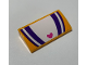 Part No: 88930pb106  Name: Slope, Curved 2 x 4 x 2/3 No Studs with Bottom Tubes with Dark Purple and White Stripes and Heart Pattern (Sticker) - Set 41320