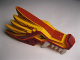 Part No: 93070pb02  Name: Dragon Head (Ninjago) Upper Jaw with Dark Red Sections, White Teeth and Red Stripes Pattern
