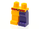 Part No: 970d24pb01  Name: Minifigure, Legs with Hips - 1 Dark Purple Left Leg, 1 Bright Light Orange Right Leg, Red Belt with Face Pattern